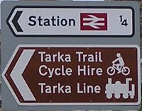 Barnstaple station and Tarka Line direction sign