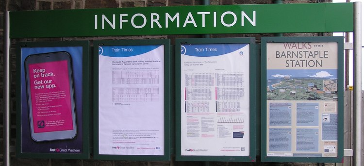 Barnstaple station information board