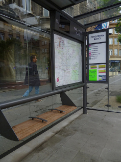 A bus shelter with usable seating